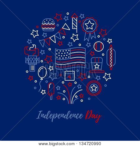 A set of design elements and icons for design kit in traditional American colors - red, white, blue. Happy independence day card.