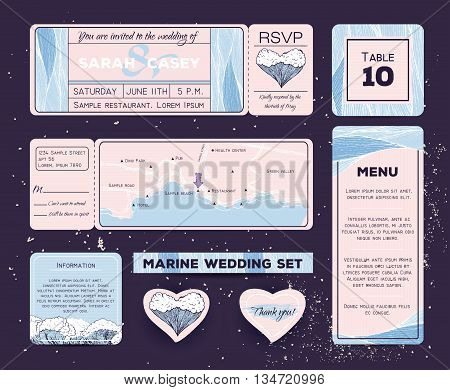 Marine wedding invitation set with rsvp table and menu cards. Ticket to a sea party with road map