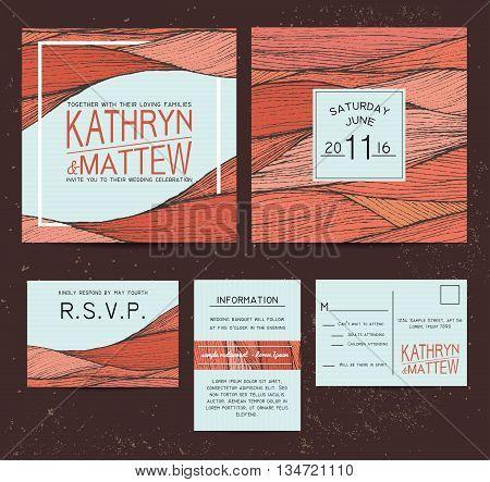wedding invitation set with rsvp card. beautiful orange wavy ornament background
