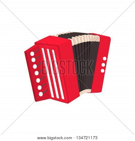 Russian Button Accordion Bright Color Detailed Cartoon Style Vector Illustration Isolated On White Background