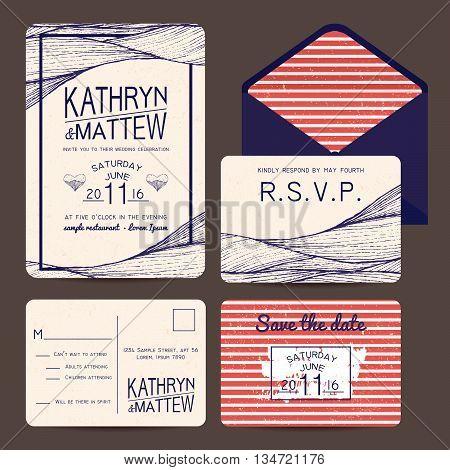 wedding invitation set with rsvp card. wavy and stripy ornament. monochrome retro design