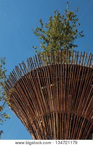 Cylindrical Bamboo Structure at Vietnam Exposition's Pavilion in Milan 2015