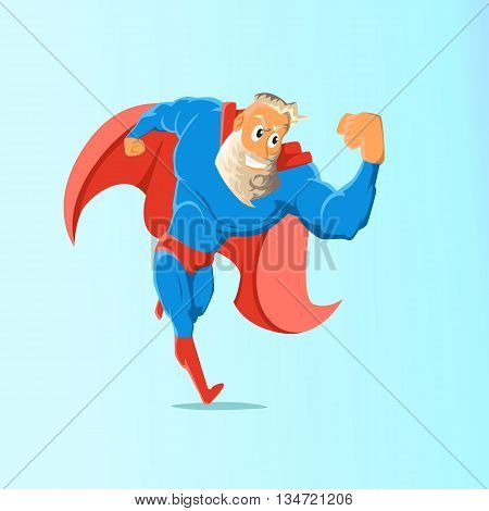 Old charismatic hipster Superhero. Superhero in action. Vector illustration