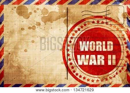 World war 2 background, red grunge stamp on an airmail backgroun