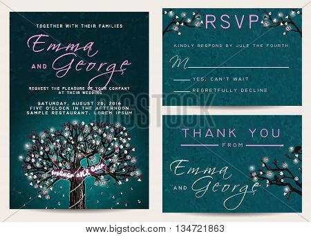Beautiful wedding set decorated with blooming tree. Vintage invitation template with glowing garland