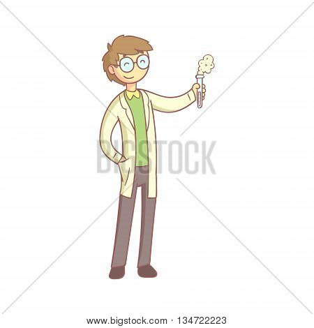 Scientist With The Test Tube Smiling Flat Outlined Pale Color Funny Hand Drawn Vector Illustration Isolated On White Background