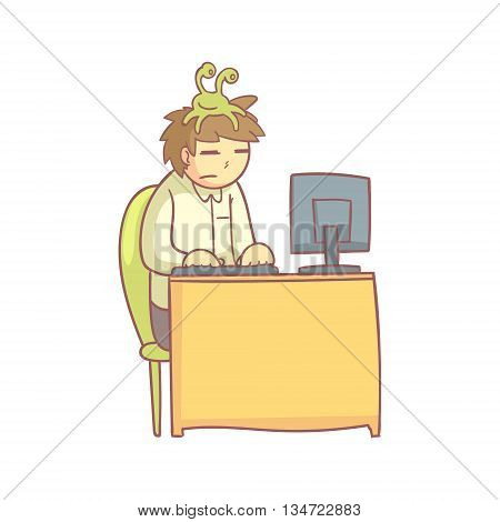 Office Worker With The Sloth Monster On The Head Flat Outlined Pale Color Funny Hand Drawn Vector Illustration Isolated On White Background