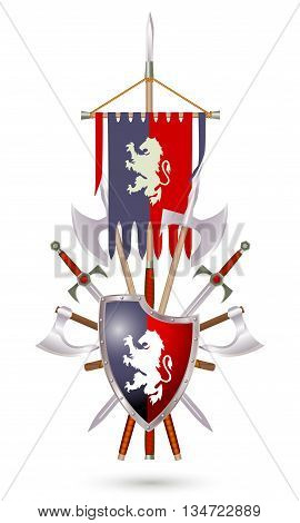 Coat of Arms to fantasy style on a white background. Shield sword ax standard with lion.