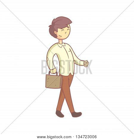 Office Worker Happily Going To Work Flat Outlined Pale Color Funny Hand Drawn Vector Illustration Isolated On White Background