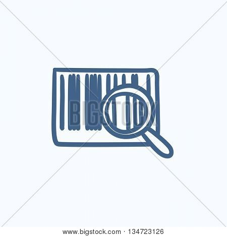 Magnifying glass and barcode vector sketch icon isolated on background. Hand drawn Magnifying glass and barcode icon. Magnifying glass and barcode sketch icon for infographic, website or app.