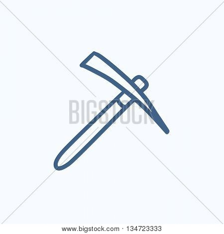Pickax vector sketch icon isolated on background. Hand drawn Pickax icon. Pickax sketch icon for infographic, website or app.