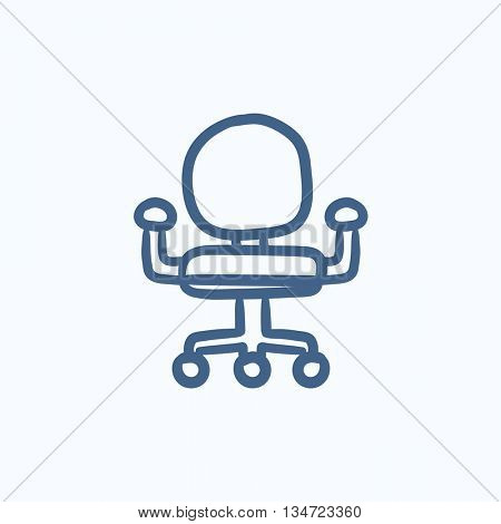 Office chair vector sketch icon isolated on background. Hand drawn Office chair icon. Office chair sketch icon for infographic, website or app.