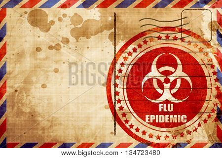Flu virus concept background, red grunge stamp on an airmail bac