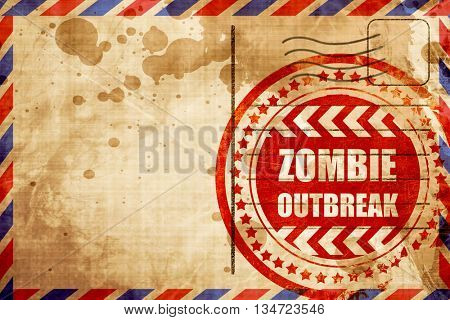 zombie virus concept background, red grunge stamp on an airmail
