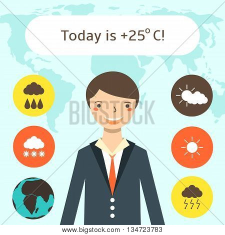 Cute flat style weather forecast background with young man world map weather icons. Weather forecast card with text space. Elements of this image furnished by NASA