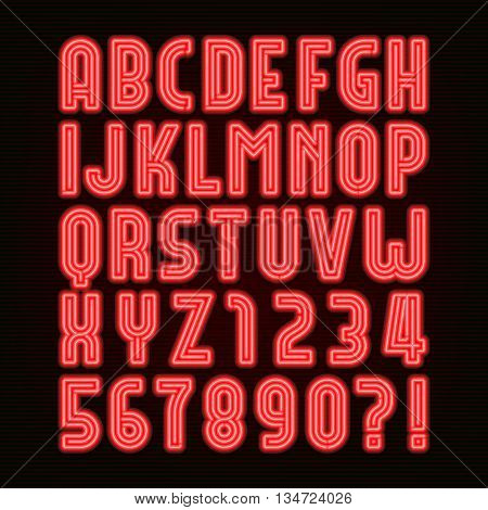 Retro red neon tube alphabet font. Retro type letters and numbers on a dark background. Vector font for labels, titles, posters etc.