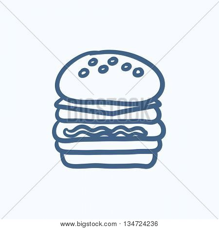 Double burger vector sketch icon isolated on background. Hand drawn Double burger icon. Double burger sketch icon for infographic, website or app.