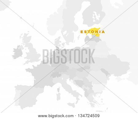 Republic of Estonia location modern detailed map. All european countries without names. Vector template of beautiful flat grayscale map design with selected country name text and border location