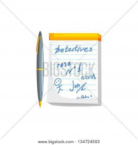 Notebook With Pen Scribbles Flat Simplified Colorful Vector Illustration Isolated On White Background