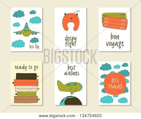 Cute doodle travel flight cards brochures invitations with plane clouds flight pillow luggage globe tickets. Cartoon objects for children Printable templates set
