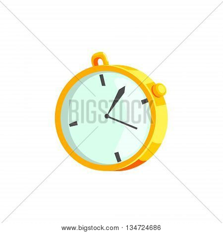 Mechanical Stopwatch Flat Simplified Colorful Vector Illustration Isolated On White Background