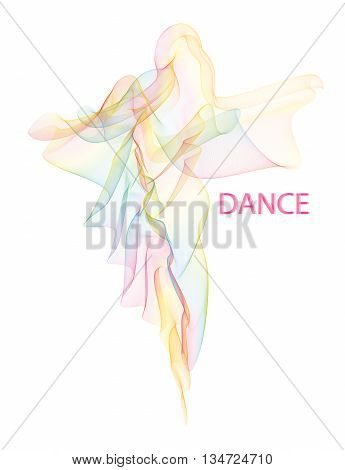 Vector illustration of fluttering airy colorful moire veil folded in a shape of walking or dancing woman silhouette in a long dress. EPS 10 vector image easy to change colors