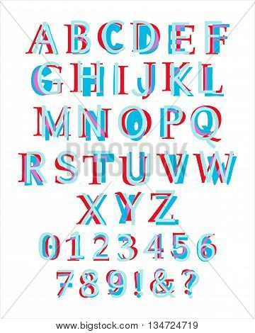 Kid's style colorful latin alphabet layered with different appearance. Illustration of capital letters and numbers. Eps 10 Vector