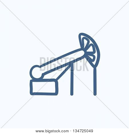 Pump jack oil crane vector sketch icon isolated on background. Hand drawn Pump jack oil crane icon. Pump jack oil crane sketch icon for infographic, website or app.