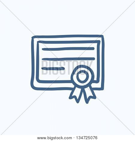 Certificate vector sketch icon isolated on background. Hand drawn Certificate icon. Certificate sketch icon for infographic, website or app.