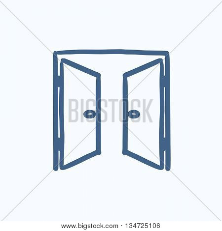 Open doors vector sketch icon isolated on background. Hand drawn Open doors icon. Open doors sketch icon for infographic, website or app.