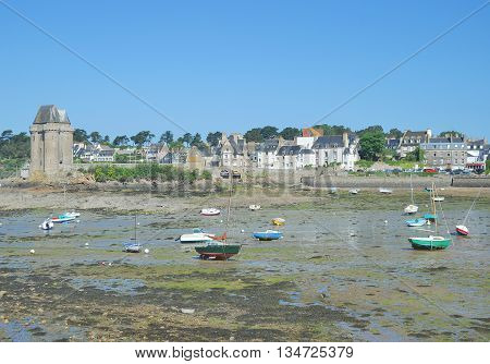 Low Tide in Saint Malo at North Sea in Brittany,France