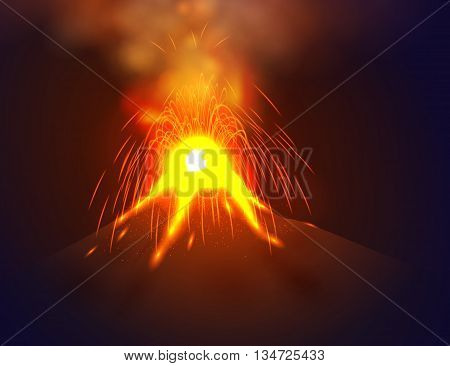 Eruption volcano vector illustation. Red lava flowing from the mountain.