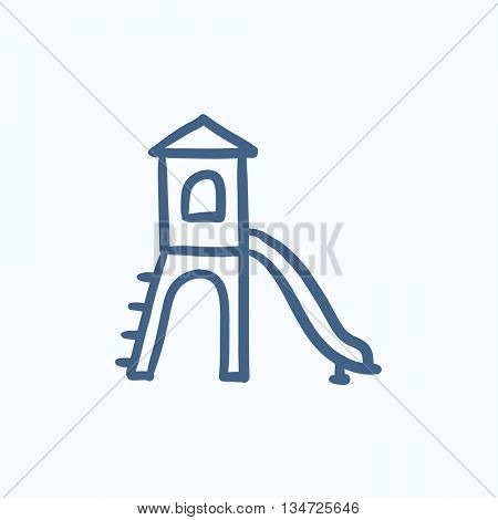 Playground with slide vector sketch icon isolated on background. Hand drawn Playground with slide icon. Playground with slide sketch icon for infographic, website or app.