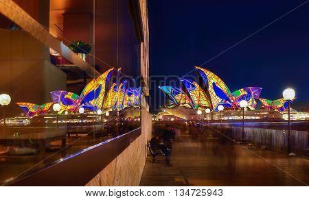 Sydney, Australia - June 17, 2016, Sydney Opera House And Reflection Illuminated With Colourful Ligh