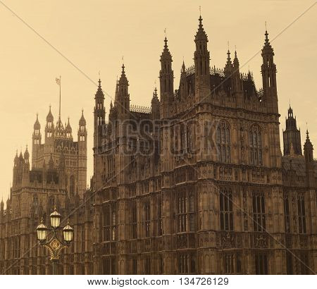 The Houses of Parliament and Westminster Bridge. London, England