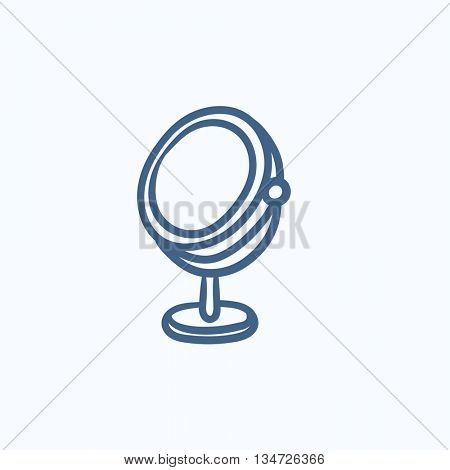 Round makeup mirror vector sketch icon isolated on background. Hand drawn Round makeup mirror icon. Round makeup mirror sketch icon for infographic, website or app.