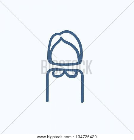 Business woman vector sketch icon isolated on background. Hand drawn Business woman icon. Business woman sketch icon for infographic, website or app.