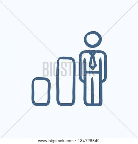 Businessman and graph vector sketch icon isolated on background. Hand drawn Businessman and graph icon. Businessman and graph sketch icon for infographic, website or app.