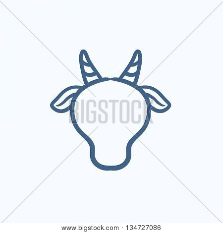 Cow head sketch icon for web, mobile and infographics. Hand drawn cow head icon. Cow head vector icon. Cow head icon isolated on white background.