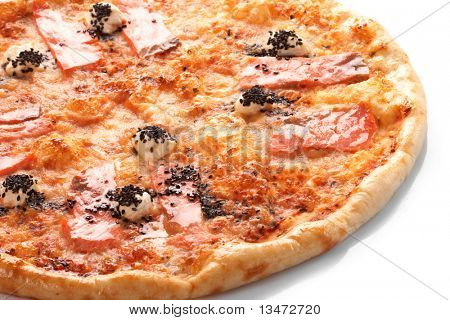 Pizza with grilled salmon
