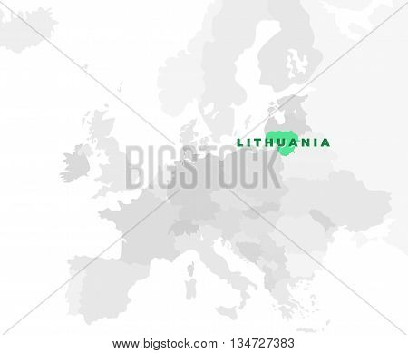 Lithuania location modern detailed map. All european countries without names. Vector template of beautiful flat grayscale map design with selected country name text and border location