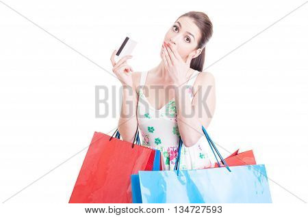 Woman Shopper Looking Surprised Holding Credit Or Debit Card
