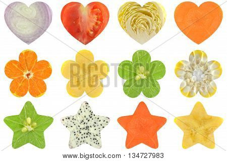Heart shaped, flower shaped and star shaped fruit and vegetable on white background
