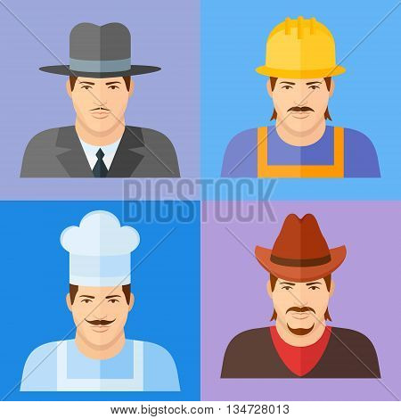 Restaurant chef, builder or worker, gangster and cowboy characters. Male faces flat icons.