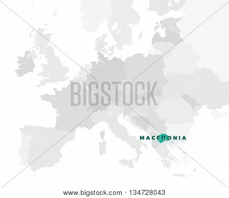 Macedonia location modern detailed map. All european countries without names. Vector template of beautiful flat grayscale map design with selected country name text and border location
