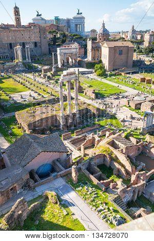 ROME, ITALY - APRIL 8, 2016: Roman's forum with ruins of important ancient government buildings started 7th century BC