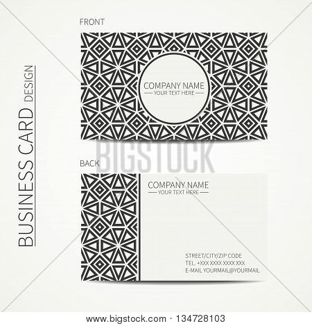 Vector simple business card design. Template. Black and white. Business card for corporate business and personal use. Calling card. Geometric monochrome line lattice arabicpattern. Oriental style.