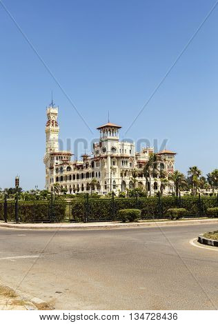 Montaza Palace , clear blue sky in Alexandria Egypt.