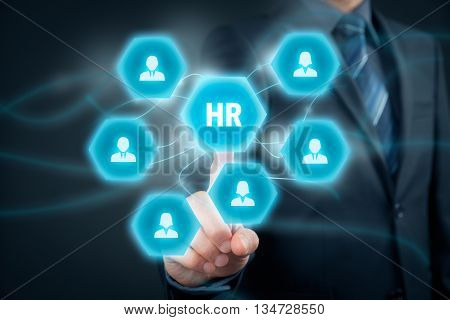 Human resources HR concept. Businessman (or personnel manager) click on insure button.