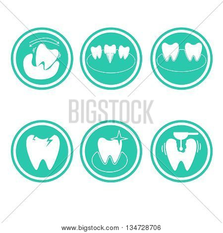 Set of vector conceptual icons of dental clinic services, stomatology, dentistry, orthodontics, oral health care and hygiene